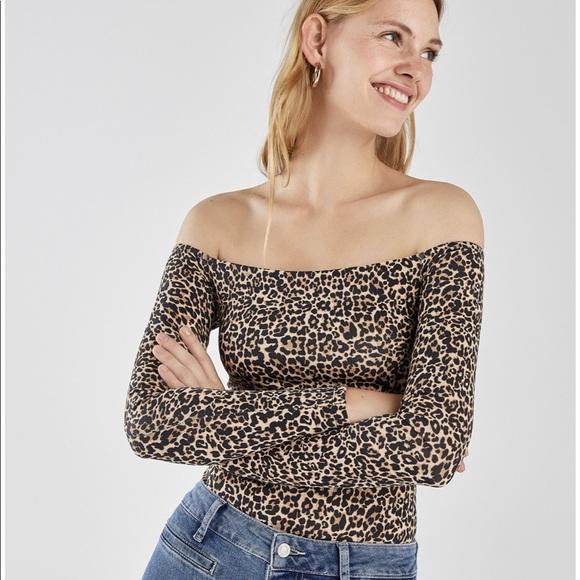 566417d45751d6 Bershka Tops | Leopard Print Off The Shoulder Long Sleeve Top | Poshmark